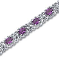 6.00 carats Oval Cut Amethyst Gemstone Bracelet in Sterling Silver Style SB2934