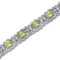 7.00 carats Oval Cut Peridot Gemstone Bracelet in Sterling Silver Style SB2938