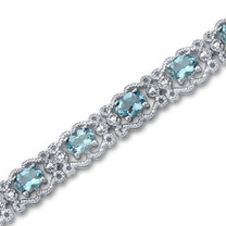 8.50 carats Oval Cut Swiss Blue Topaz Gemstone Bracelet in Sterling Silver Style SB2940