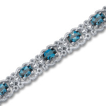 8.50 carats Oval Cut London Blue Topaz Gemstone Bracelet in Sterling Silver Style SB2942