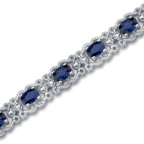 Oval Cut Created Sapphire Gemstone Bracelet in Sterling Silver Style SB2948