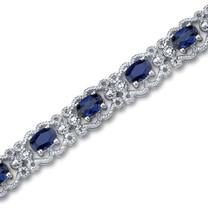 Oval Cut Created Sapphire Gemstone Bracelet in Sterling Silver Style SB2948