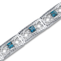 4.00 carats Princess Cut London Blue Topaz Gemstone Bracelet in Sterling Silver Style SB2956