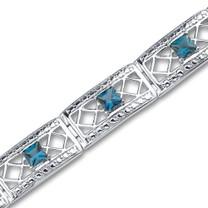 4.00 carats Princess Cut London Blue Topaz Gemstone Bracelet in Sterling Silver Style SB2956