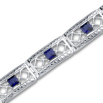 Princess Cut Created Sapphire Gemstone Bracelet in Sterling Silver Style SB2962