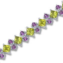 16.00 Carats Princess & Round Cut Peridot Amethyst Bracelet in Sterling Silver Style SB2982