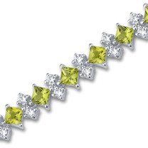 12.50 carats Princess Cut Peridot White CZ Gemstone Bracelet in Sterling Silver Style SB2990