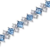 13.50 Carats Princess Cut Swiss Blue Topaz White CZ Bracelet in Sterling Silver Style SB2992
