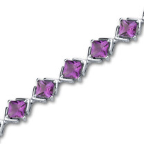 8.00 carats Princess Cut Amethyst Gemstone Bracelet in Sterling Silver Style SB2996