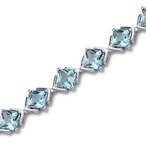 12.00 carats Princess Cut Swiss Blue Topaz Gemstone Bracelet in Sterling Silver Style SB3002