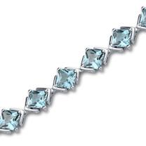 12.00 carats Princess Cut Swiss Blue Topaz Gemstone Bracelet in Sterling Silver Style SB3002