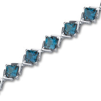12.00 carats Princess Cut London Blue Topaz Gemstone Bracelet in Sterling Silver Style SB3004