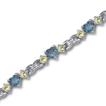 6.50 Carats Heart Shape London Blue Topaz & Round Shape Peridot Bracelet in Sterling Silver Style SB3026