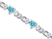 4.50 Carats Heart Shape Swiss Blue Topaz & White CZ Bracelet in Sterling Silver Style SB3034