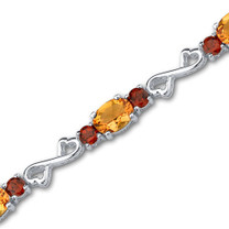 10.00 carats Oval & Round Cut Citrine Garnet Gemstone Bracelet in Sterling Silver Style SB3046