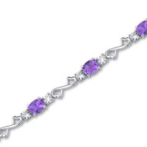 6.00 carats Oval Cut Amethyst White CZ Gemstone Bracelet in Sterling Silver Style SB3050