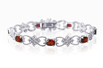 7.00 carats Oval Cut Garnet & White CZ Gemstone Bracelet in Sterling Silver Style SB3132
