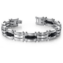 Eye Catching Mens Stainless Steel and Black Carbon Bracelet Style sb3264