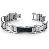 Bold & Beautiful Mens Stainless Steel Carbon Bracelet Style sb3266
