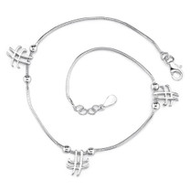 Sterling Silver Snake Chain Bracelet with Knot and Cross Charms Style sb3290