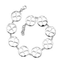 Bold and Lovely: Sterling Silver Coin link Bracelet with cut-out Hearts Style sb3332