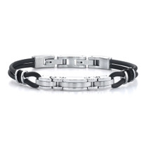 Exclusive Elegance: Stainless Steel Triple-bar Link and Dual Rubber Cord Bracelet Style SB3382