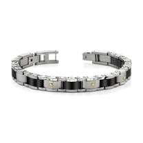 Heavy Duty Stainless Steel and 18 Karat Gold Mens Bracelet Style SB3462