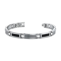 Black Carbon Fiber with Laser pattern Mens Stainless Steel Bracelet Style SB3494