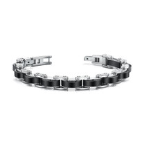 Expertly Crafted Mens Stainless Steel Bracelet with Black links Style SB3506