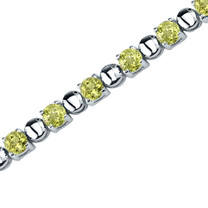 6.25 Carats Round Shape Peridot Bracelet in Sterling Silver Style SB3542