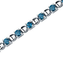 6.00 Carats Round Shape London Blue Topaz Bracelet in Sterling Silver Style SB3544
