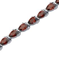 12.00 Carats Pear Shape Garnet Bracelet in Sterling Silver Style SB3552