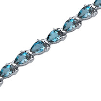 9.50 Carats Pear Shape London Blue Topaz Bracelet in Sterling Silver Style SB3556