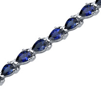 Magnificent Desire: Pear Shape Blue Sapphire Gemstone Bracelet in Sterling Silver Style SB3560