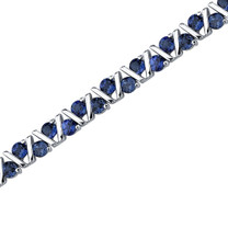 Always Glamorous: Round Shape Blue Sapphire Gemstone Bracelet in Sterling Silver Style SB3608