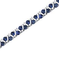Always Glamorous: Round Shape Blue Sapphire Gemstone Bracelet in Sterling Silver Style SB3608