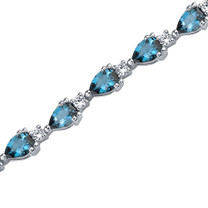6.75 Carats Pear Shape London Blue Topaz & White CZ Bracelet in Sterling Silver Style SB3640