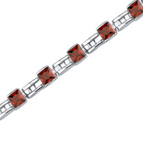 6.00 Carats Princess Cut Garnet Bracelet in Sterling Silver Style SB3648