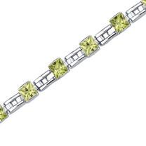 5.50 Carats Princess Cut Peridot Bracelet in Sterling Silver Style SB3650