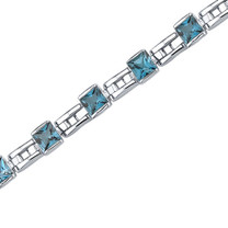6.00 Carats Princess Cut London Blue Topaz Bracelet in Sterling Silver Style SB3652