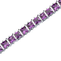 10.00 Carats Princess Cut Amethyst Bracelet in Sterling Silver Style SB3658