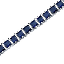 Princess Cut Blue Sapphire Bracelet in Sterling Silver Style SB3668