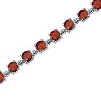 8.00 Carats Round Shape Garnet Bracelet in Sterling Silver Style SB3672