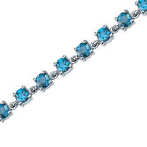 7.00 Carats Round Shape London Blue Topaz Bracelet in Sterling Silver Style SB3676