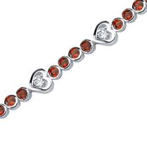 4.50 Carats Round Shape Garnet & White CZ Bracelet in Sterling Silver Style SB3684