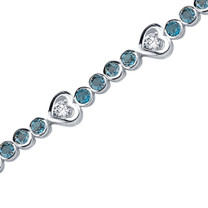 3.75 Carats Round Shape London Blue Topaz & White CZ Bracelet in Sterling Silver Style SB3688