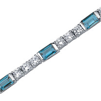 5.75 Carats Baguette Cut London Blue Topaz & White CZ Bracelet in Sterling Silver Style SB3760