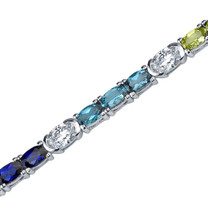 3.50 Carats Oval Shape Multi color Bracelet in Sterling Silver Style SB3778