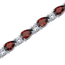 13.75 Carats Pear Shape Garnet & White CZ Bracelet in Sterling Silver Style SB3794