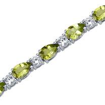11.75 Carats Pear Shape Peridot & White CZ Bracelet in Sterling Silver Style SB3796
